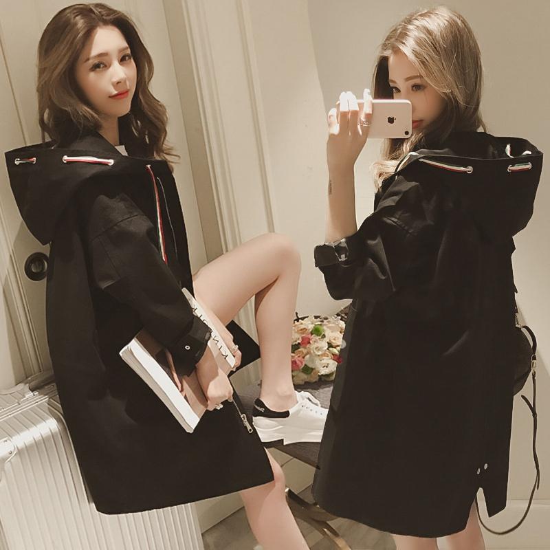 2019春秋新款女装百搭黑色风衣女中长款宽松显瘦学生连帽外套女潮