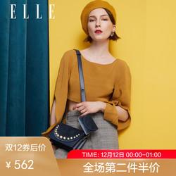 ELLE女包18年秋冬新款82015时尚气质丝绒翻盖肩背腰包网红斜跨包