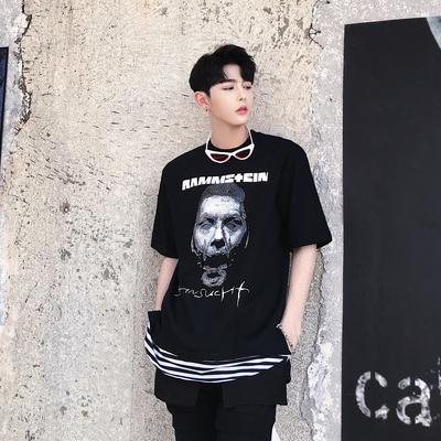 2018夏款 人头图案字母印花条纹下摆拼接男短袖T恤 KK735/P70