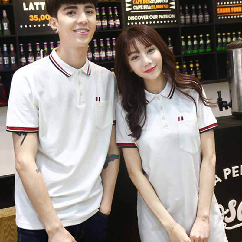 Oversize couple summer 2021 short sleeve student temperament dress wedding photo Polo couple shirt