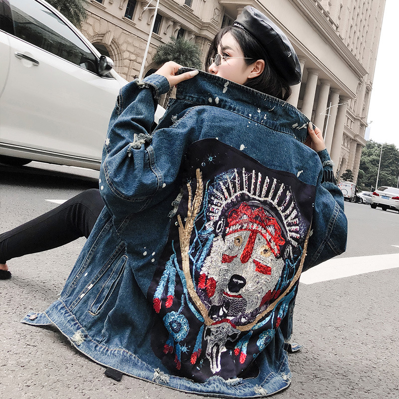 Autumn 2021 retro BF heavy industry Beaded Wolf Totem Sequin perforated Denim Jacket Womens jacket