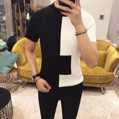 2018春夏装新款英伦绅士男士圆领短袖针织衫M17-P55 62%棉38%腈纶