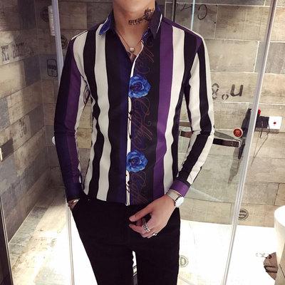 2018英伦秋装韩版条纹长袖衬衫男士印花修身衬衣男C411-CS042-P55