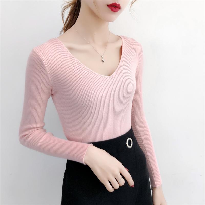 实拍V领针织衫套头长袖2018秋冬新款韩版修身打底衫上衣毛衣