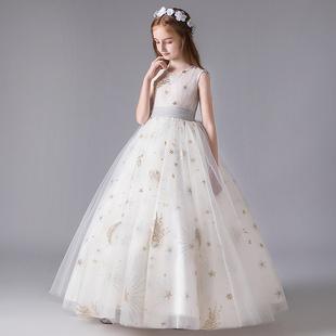 儿童礼服白色女童婚纱花童公主裙生日宴会晚礼服女孩小主持人服装