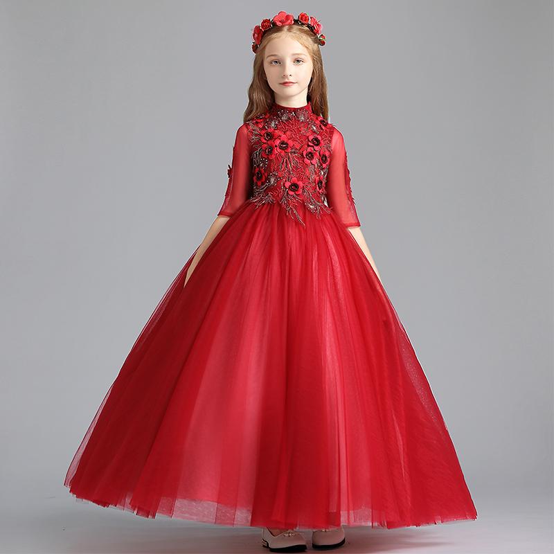 Trẻ em công chúa váy cô gái sinh nhật đám cưới chủ nhà buổi tối ăn mặc phong cách Trung Quốc catwalk khí chất đàn piano biểu diễn quần áo mùa xuân - Váy trẻ em