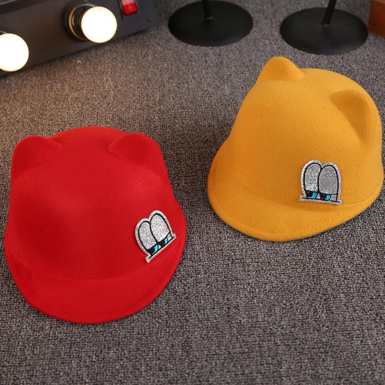 秋冬韩版男女儿童帽子小孩帽子宝宝礼帽蝴蝶结毛呢帽马术帽1-7岁