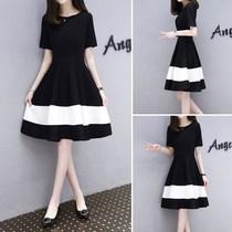 2018夏季新款女装韩版显瘦大码黑白拼接中长款时尚气质A字连衣裙