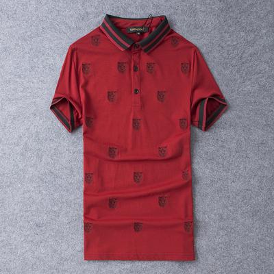D316-9107-P70 丝光珠地棉短袖t恤男2019夏季新款修身 红色 灰底