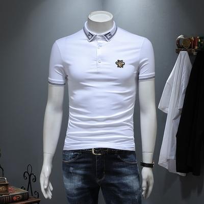 D316-9233-P70 丝光棉短袖t恤男2019夏季新款修身刺绣 白色
