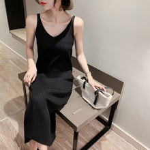 New slim knit suspender dress women's tank top long skirt in autumn 2019 medium length black bottom dress