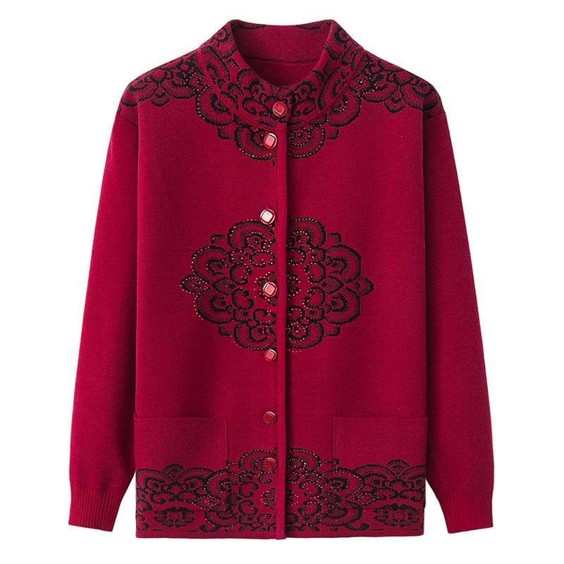 老人女毛衣秋冬针织衫中老年人外套妈妈装春装老太太奶奶唐装开衫