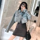 牛仔外套女韩版 牛仔衣上衣 chic破洞长袖 新款 港味春装 洗水做旧短款