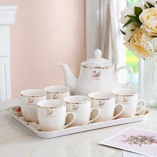 北欧简约陶瓷茶具套装家用水杯套装客厅水壶耐热杯具壶泡茶器包邮图片