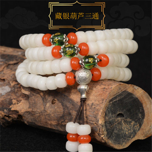 White jade Bodhi string 108 fashionable beads jewelry coral 108 four circle imitation jewelry female Bodhi more.