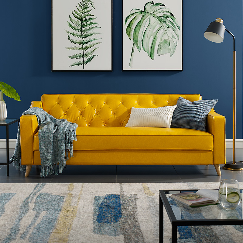 Meijia Nordic Light luxury ins style small house modern simple leather art double three person Japanese living room leather sofa