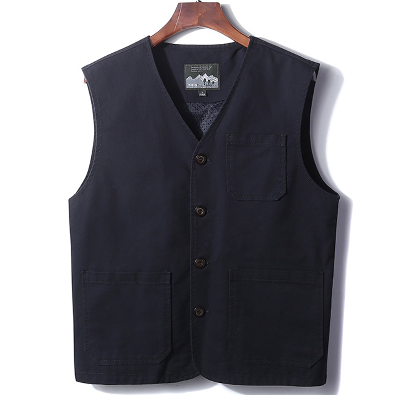 Cotton vest men's outer wear spring and autumn casual vest middle-aged and elderly dad thin waistcoat middle-aged waistcoat jacket