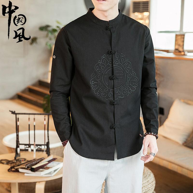 中国风男装唐装男士复古风潮牌刺绣盘扣改良汉服古装大码棉麻衬衫