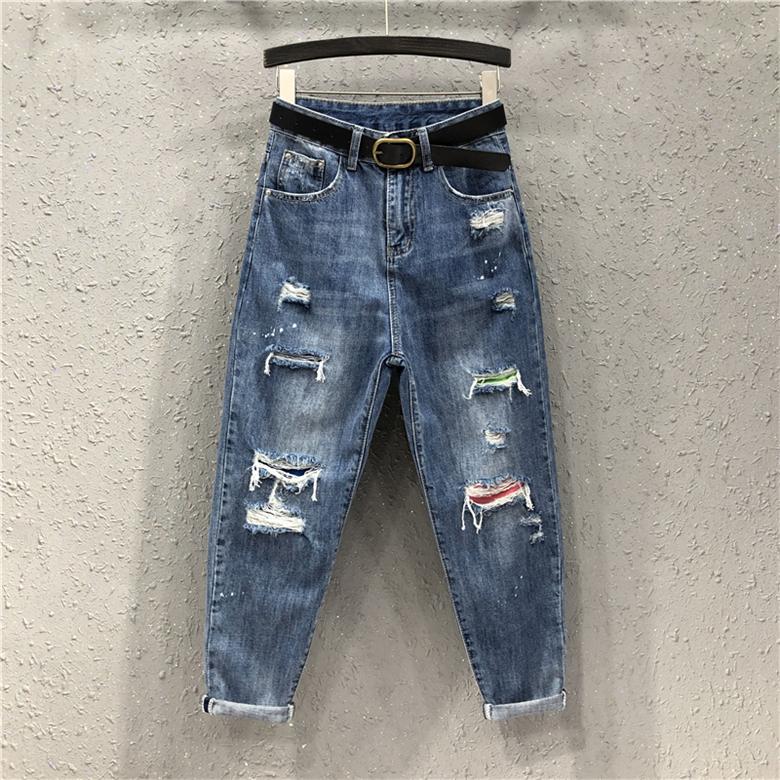 需要用券19夏装新款欧货女潮个性破洞哈伦裤