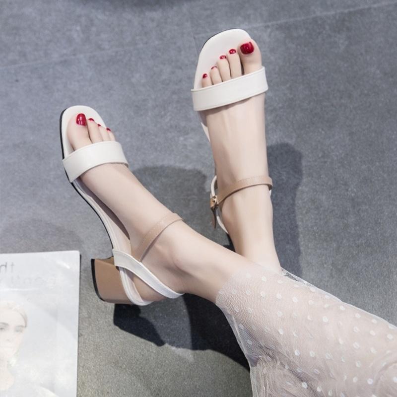 中國代購 中國批發-ibuy99 凉鞋女 穿裙子配的鞋夏天2021新款百搭仙女中跟时装高跟鞋一字扣凉鞋女夏