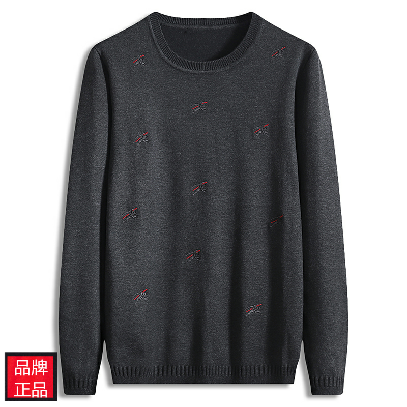 High end brand fattening mens T-shirt puffy loose round neck large sweater mens Embroidery autumn and winter oversize