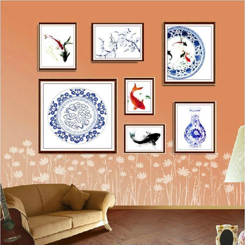 18年新款青花瓷十字绣七联画新款客厅简约现代照片墙浪漫餐厅系列