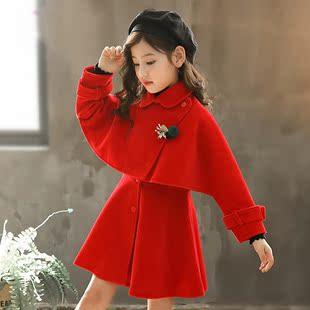 潮大童装女童春秋冬套装裙子儿童毛呢外套连衣裙韩版女中童洋气红