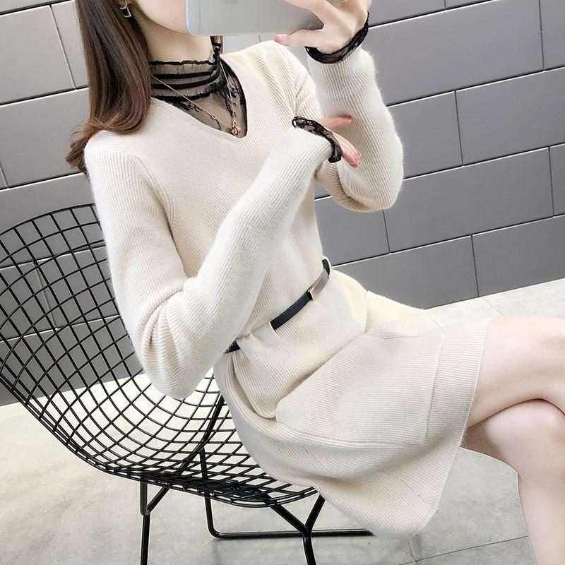 蕾丝V领双口袋腰带毛衣裙2020秋装新款时尚洋气配大衣的毛衣裙子