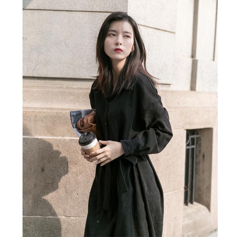 春装2020年新款女黑色长袖连衣裙女春秋收腰显瘦气质春季遮胯裙子