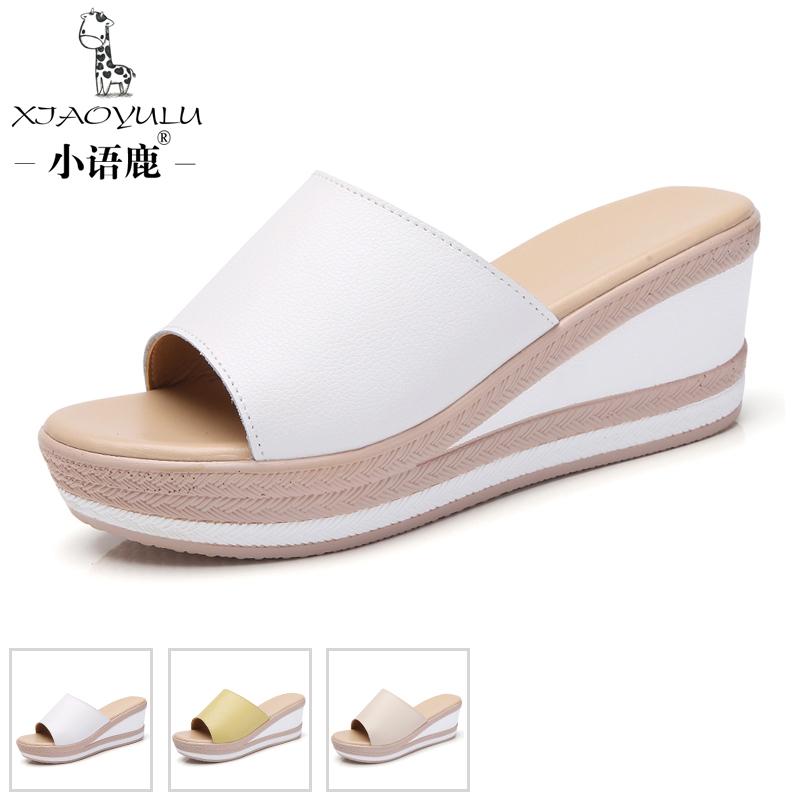 小语鹿CZ-2012夏季女鞋厚底真皮坡跟休闲女凉鞋松糕底韩版凉拖潮