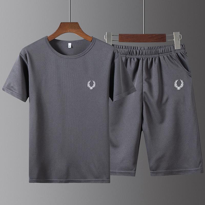冰丝运动T恤休闲夏季跑步健身宽松速干男士五分裤短袖体恤男套装图片