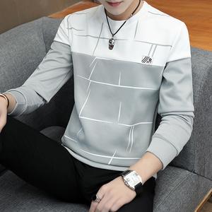 长袖t恤男士圆领T恤男装2021春秋季新款潮流上衣服修身打底衫卫衣
