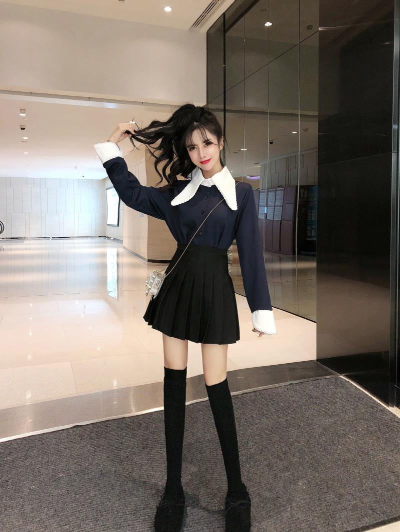 實拍網紅同款韓版撞色雪紡襯衫+高腰百褶裙+高筒襪三件套
