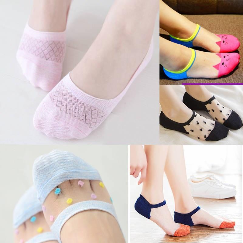 5双装袜子女浅口隐形袜子网眼袜硅胶防滑袜底夏季薄款学生袜船袜