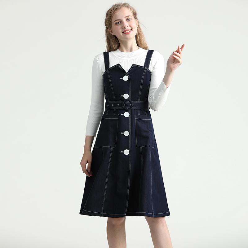 热销260件买三送一VERO TEX MODA2019秋冬新款明线绑带两件套牛仔连衣裙女319342