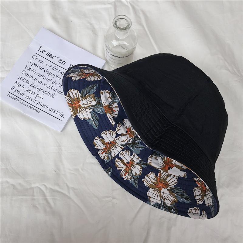 韩版印花渔夫帽女双面戴盆帽两面遮阳帽纯棉布帽子可折叠太阳帽潮