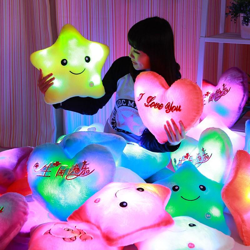 熊知我心七彩发光抱枕海星星可爱毛绒玩具睡枕头熊掌爱心圣诞枕头
