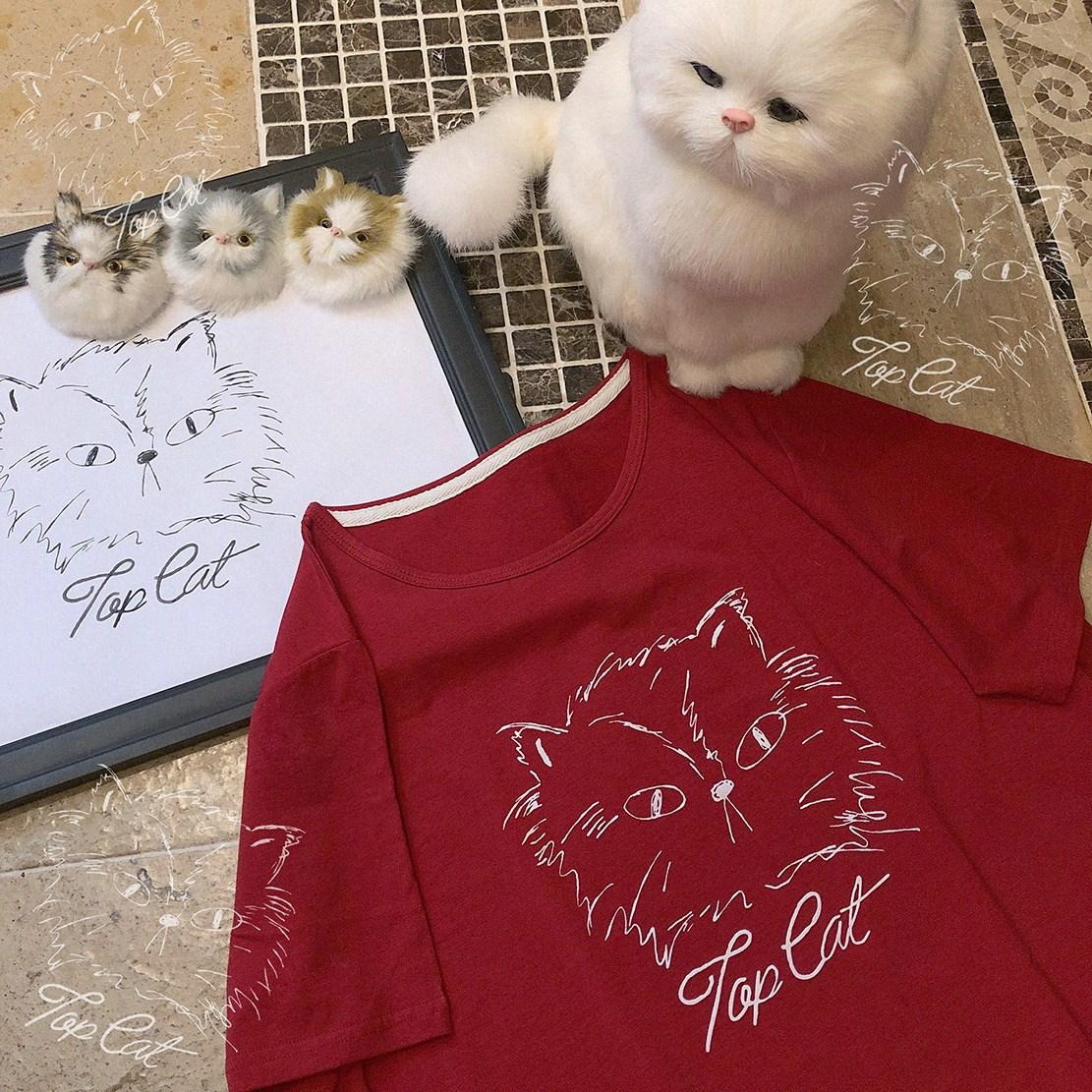 XIN  丝网胶印 生气的猫老大 元气红色 奥代尔短袖T恤