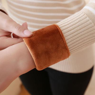 秋冬季加绒毛衣女加厚保暖紧身条纹半高领套头毛线针织百搭打底衫