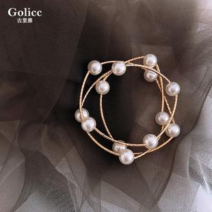 網紅同款高級感多層交叉珍珠手鍊可作項鍊小清新迷人ins少女超仙