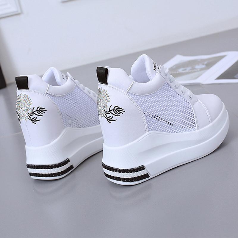 2020夏款网面内增高白色休闲鞋女士时尚镂空透气坡跟鞋