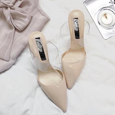 2020新款时尚拖鞋女夏百搭尖头高跟鞋细跟性感包头透明带夏季凉拖