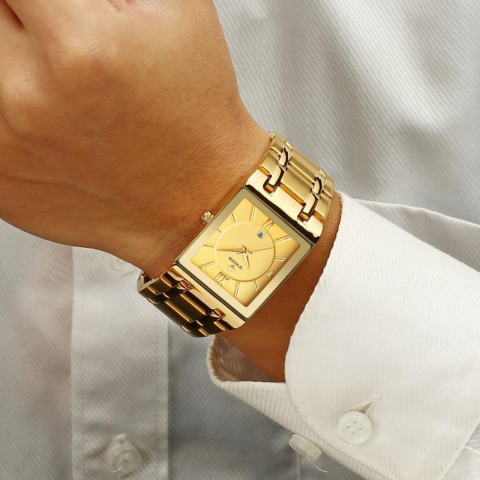 Square watch mens steel belt waterproof calendar watch business mens gold watch retro simple mens Quartz Watch