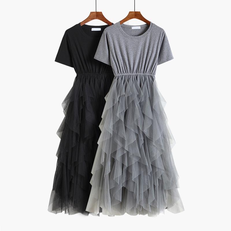 69.00元包邮2019夏季新款短袖不规则网纱连衣裙