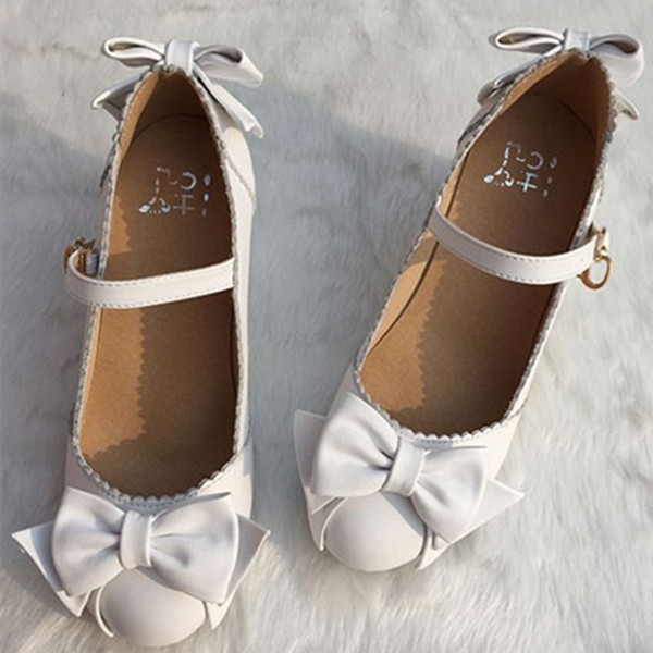 Japanese new round head leather Lolita sweet bow thick heel high heel princess shoes womens single shoes