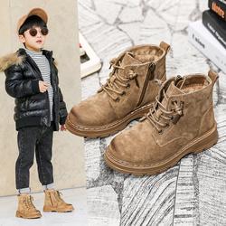 男童马丁靴儿童2020年冬季新款真皮女童鞋潮小短靴子黑加绒大棉鞋