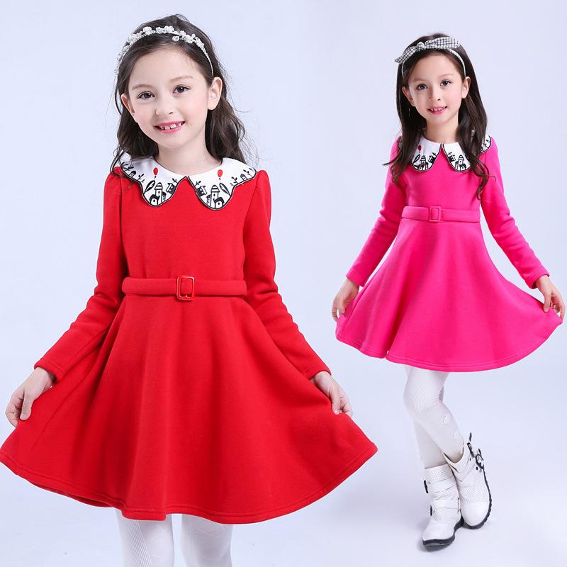 新品妮希米璐舞蹈字刺绣加绒裙衣领纯色表演类连衣裙裙子长袖儿童