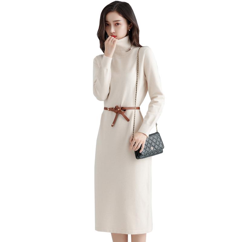 法国小众连衣裙女秋冬内搭打底针织毛衣中长款过膝配大衣的长裙子