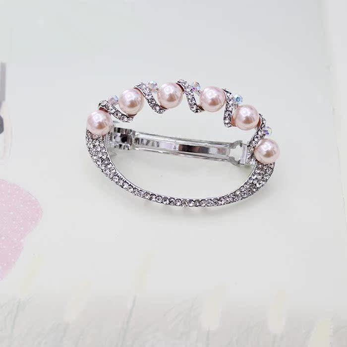 韩版头饰心形珍珠发夹镶钻马尾夹顶夹弹簧夹新款流行盘发发卡