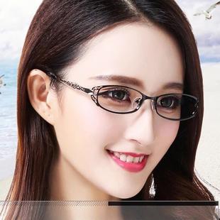 时尚镂空女款配近视眼镜成品防辐射变色护目镜平光防蓝光眼镜架